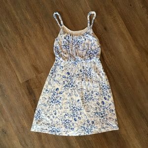Loft Blue Floral Twist Strap Dress